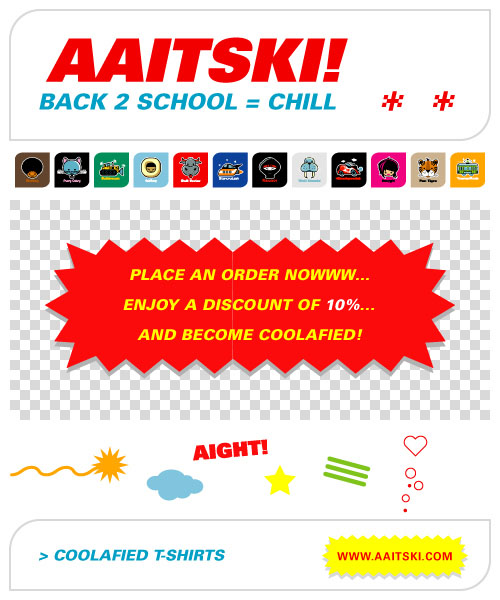 Aaitski! Back to School discount flyer