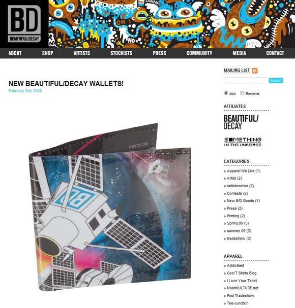 Beautiful/Decay apparel site screenshot
