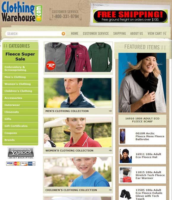 ClothingWarehouse website screenshot