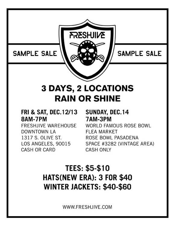 Freshjive Sample Sale flyer
