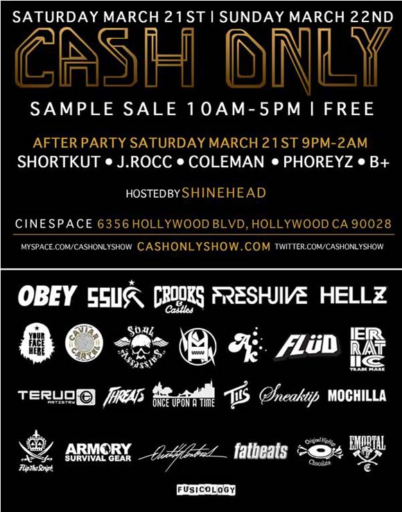 Cash Only Sample Sale & Afterparty flyer