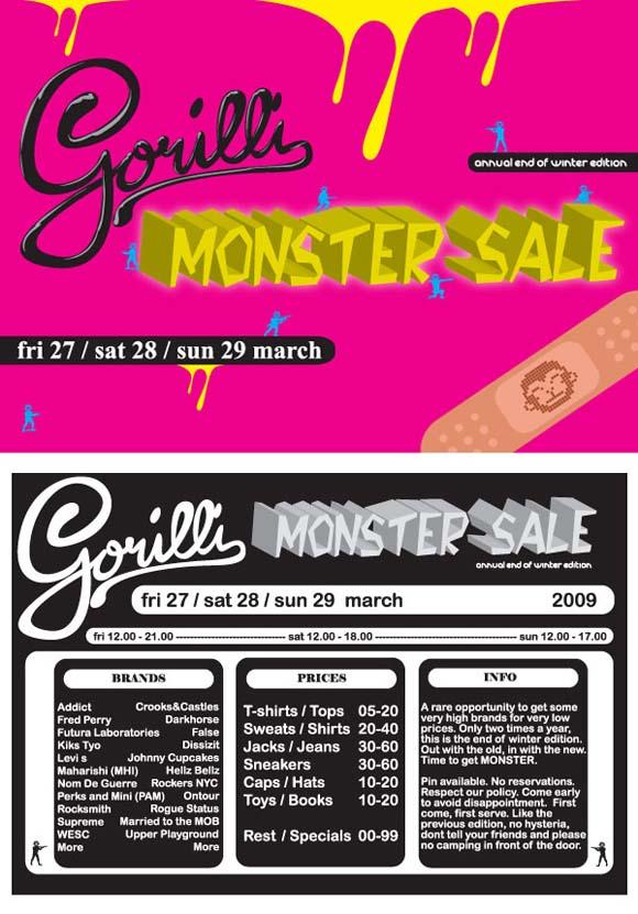Gorilli Monster Sale flyer