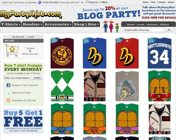 MyPartyShirt.com screenshot