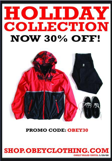 Obey Holiday Collection 30% Off Sale flyer