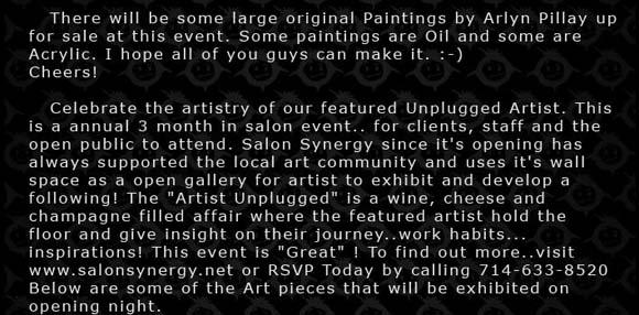 Arlyn Pillay Gallery Show flyer