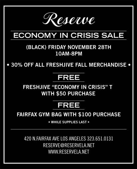"Reserve ""Economy in Crisis Sale"" Flyer"