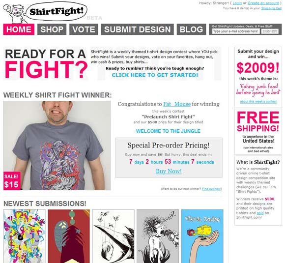 Shirt Fight website screenshot