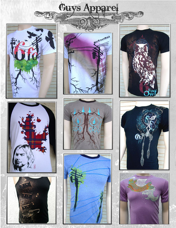 Six Foot Owl guys apparel sheet