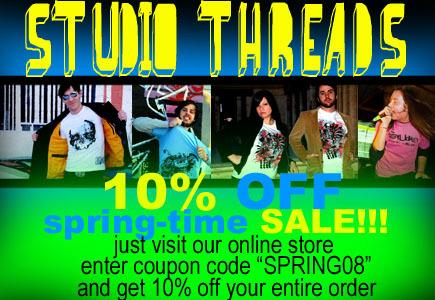 Studio Threads 10% Off Spring Sale Banner
