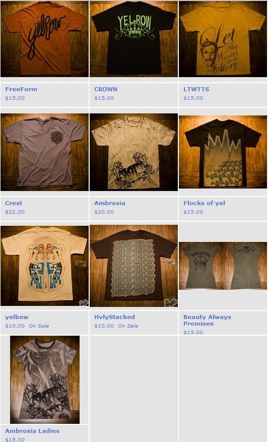 Yelrow apparel line sheet
