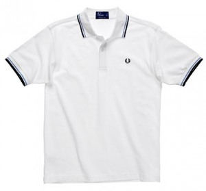White tipped pure cotton polo shirt -